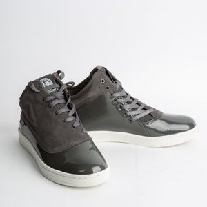 Gourmet Asymmetrical 2-tone Patent/Suede Sneakers